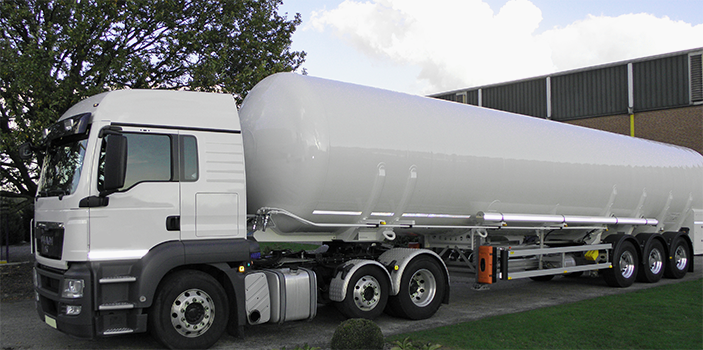 An LNG transport trailer is shown here. Built to last, our trailers provide an efficient means of transportation over road.