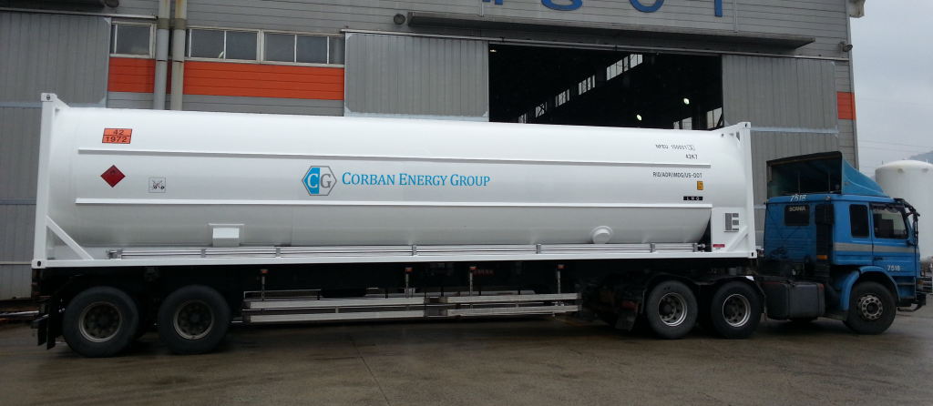 One of Corban's LNG ISO Container attached to a trailer for transportation on the road.